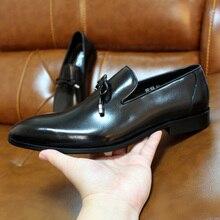 פליקס CHU גברים חתונה שמלת נעלי אמיתי עור חום שחור מוקסינים לגברים להחליק על Mens אופנה איטלקי נעליים עם עניבת פרפר