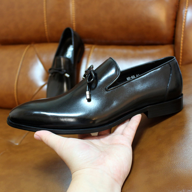 FELIX CHU Men Wedding Dress Shoes Genuine Leather Brown Black Loafers for Men Slip On Mens Fashion Italian Shoes With Bow Tie