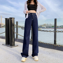 Mom Jeans Cargo-Pants Button High-Waist Wide Women Full-Length Capri Washed Slimming