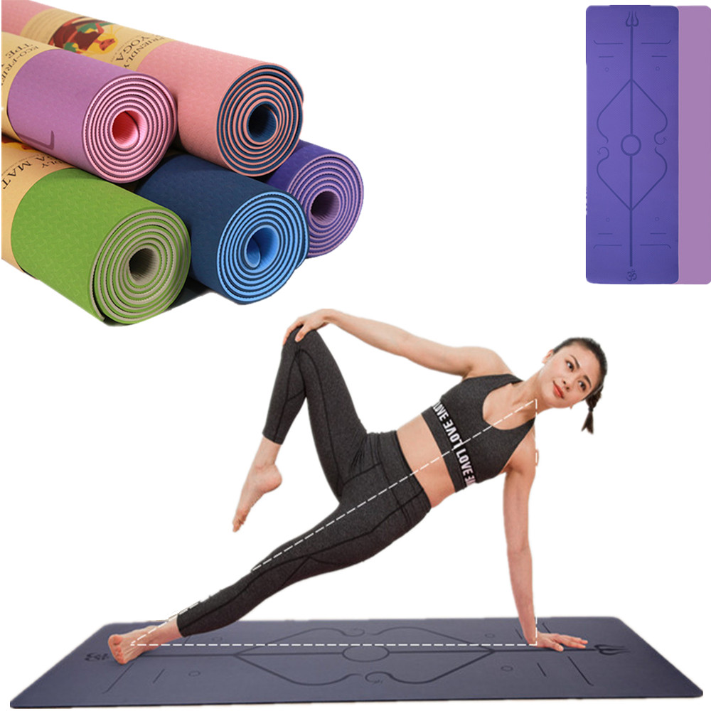 0.6cm Double-Layer Posture Line Tpe Yoga Mat Thickened Wide And Long Non-Slip Fitness Gymnastics Beginner Home Exercise