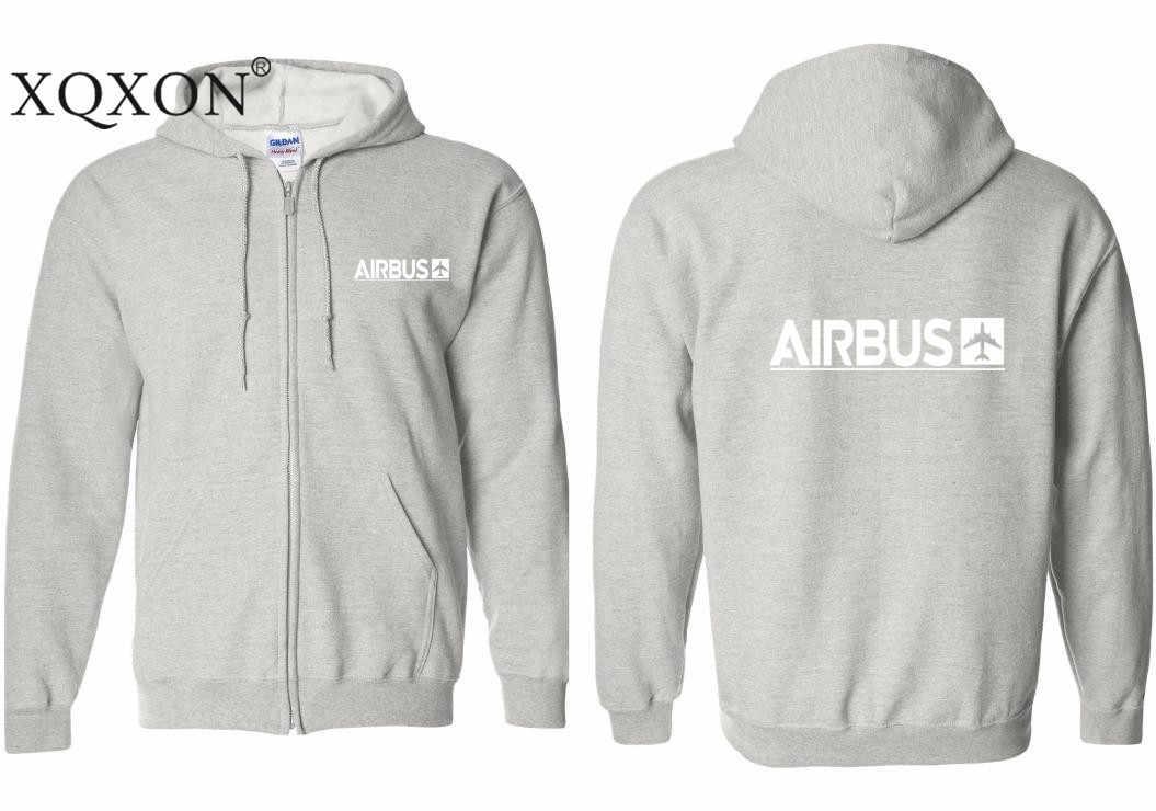 Harajuku Novo Airbus XQXON-2019 Projeto Impresso Grosso Dos Homens Com Capuz Zipper Hoodies Moletons Z712