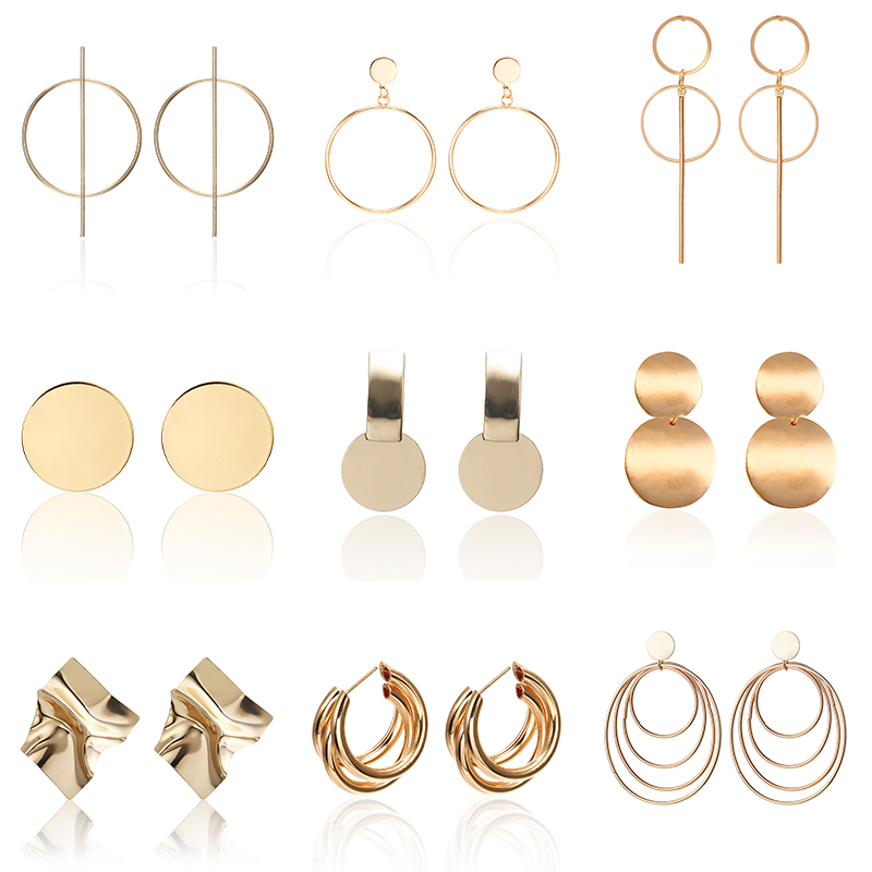 New Vintage Drop Earrings For Women Gold/Silver Color Big Geometric Statement Earring 2020 Fashion Earring India Jewelry