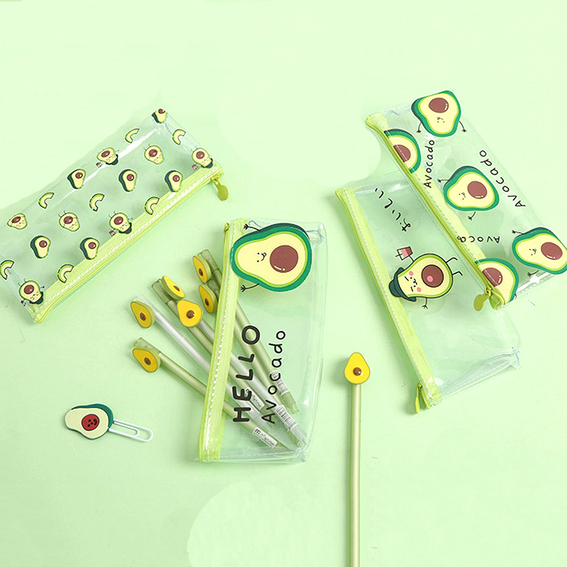Transparent Pencil Case School Pencilcase Kawaii Fruit Avocado Pencil Bag PVC Zipper Pen Box School Supplies Office Stationery