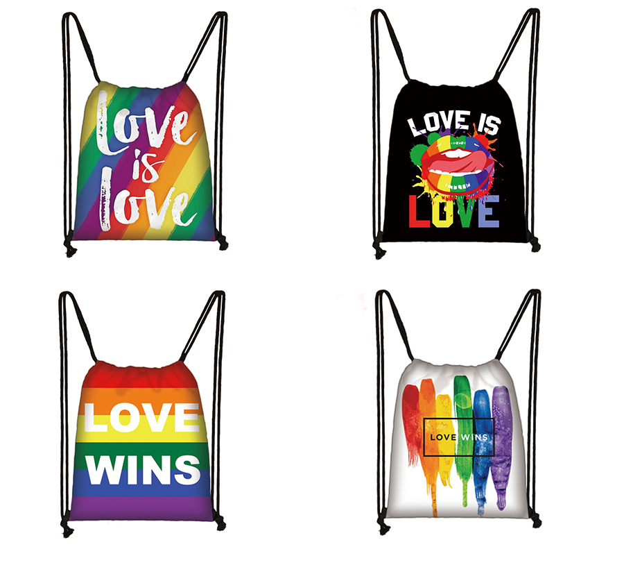 Lgbt Drawstring Bag  Female Bisexual Lesbian Gay Love Is Love Travel Bag Women Lesbian Rainbow  Backpack Fashion Storage Bag