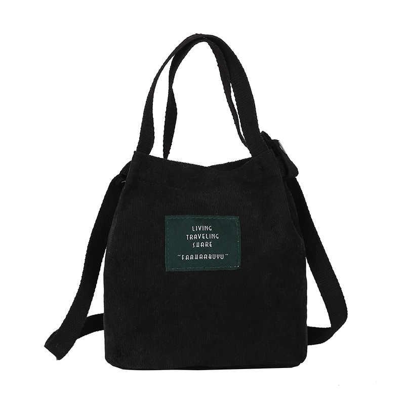 ผู้หญิง Corduroy กระเป๋าเป้สะพายหลังหัวเข็มขัดเย็บปักถักร้อยสีดำไหล่กระเป๋า SATCHEL Tote กระเป๋ากระเป๋าสำหรับวัยรุ่น