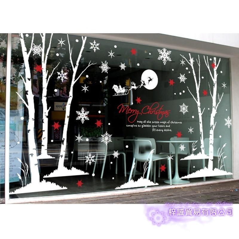 DCTAL grand autocollant de noël X mas stickers affiches vinyle stickers muraux décor Mural verre boutique fenêtre décoration de la maison