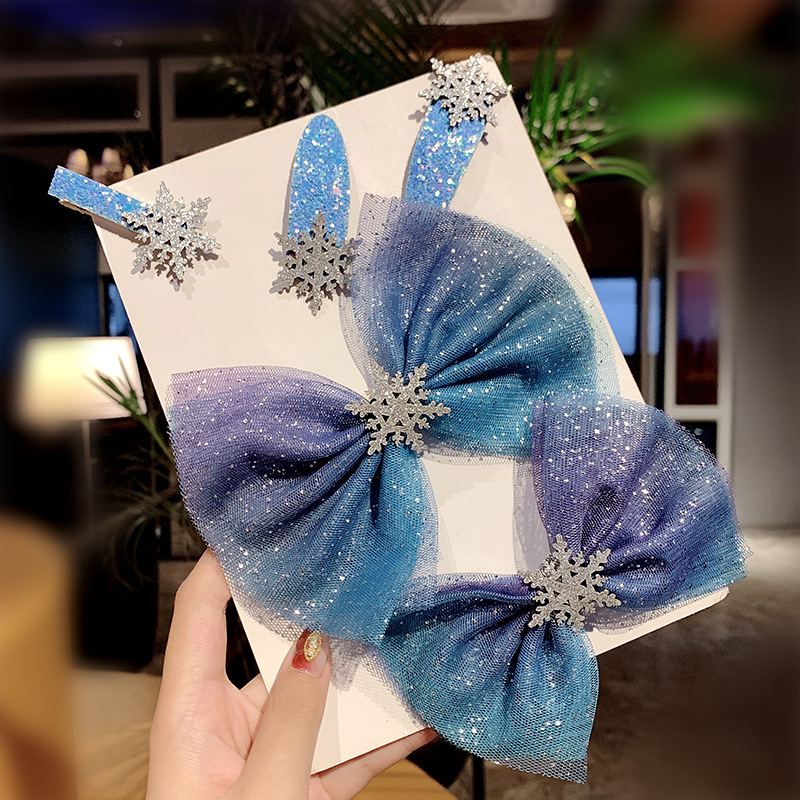 New Girl Fantasy Yarn Big Bow Snowflake Hair Clips Princess Headwear Hairpins Sweet Barrettes Kids Fashion Hair Accessories Gift