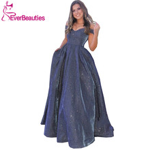 цена на Off The Shoulder Long Evening Dress with Pockets Vestidos De Fiesta Sequins Robe De Soiree Backless Dress Women вечерние платья