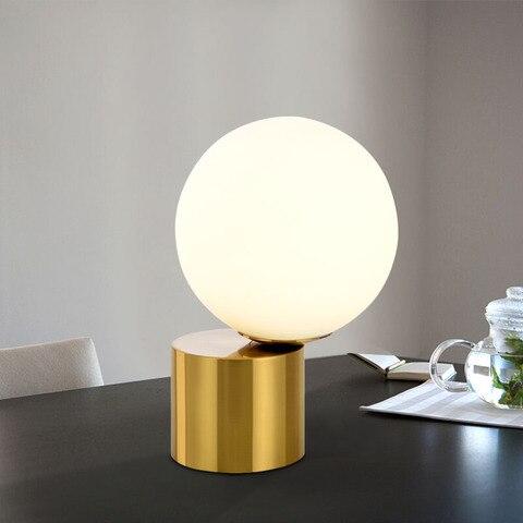 nordico moderno retro lampada de mesa vidro cobre europeu olho cabeceira lampadas led mesa redonda