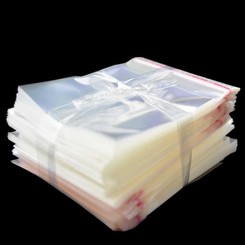 Groothandel 100/50Pcs Transparante Zelfklevende Kleine Cello Zelfsluitende Zakken Pakket Dikke Clear Cellofaan Opp Plastic poly Zakken