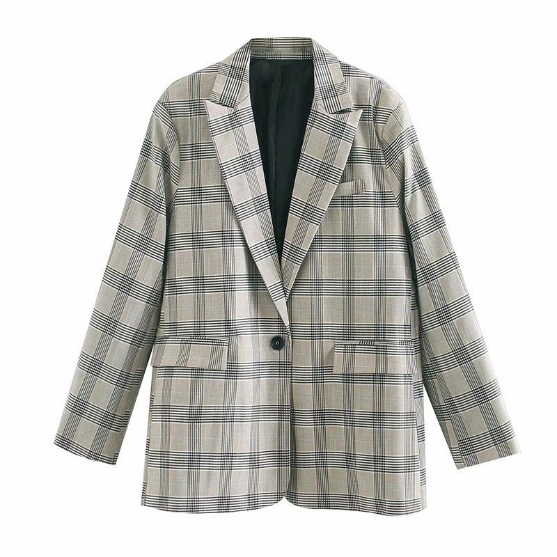 2020 england high street vintage oversize plaid blazer feminino blazer women blazer mujer  women blazers and jacket tops