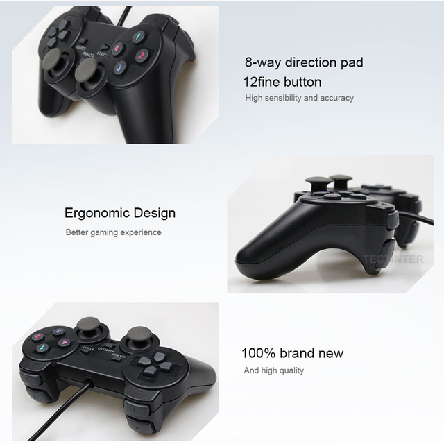 Wired USB Controller Gamepad For WinXP/Win7/Win8/Win10 For PC Computer Laptop Black Game Joystick 6