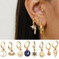 Juste sentir étoile lune boucles d'oreilles pour femmes or petits yeux minuscule Huggie charme cerceaux boucles d'oreilles avec strass minimaliste bijoux