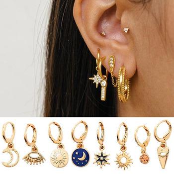 Po prostu FEEL Star Moon Hoop kolczyki dla kobiet złote małe oczy Tiny Huggie Charm kolczyki w kształcie obręczy z dżetów minimalistyczna biżuteria tanie i dobre opinie just feel jewelry Ze stopu cynku Moda Other Metal Geometryczne Kobiety TRENDY Earring 100 Brand New and High Quality drop earrings