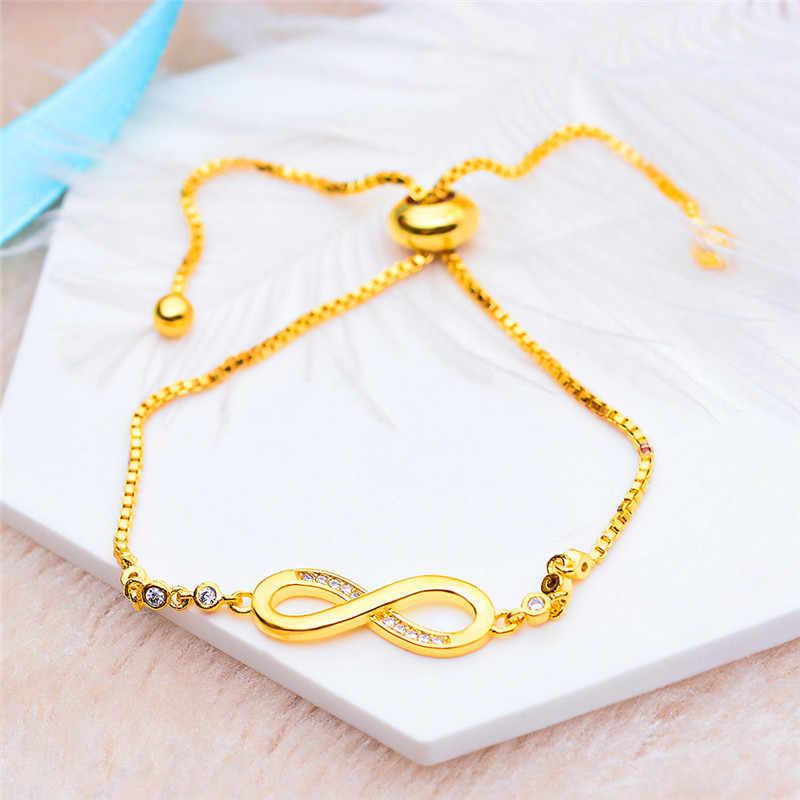 Charme feminino cristal branco pedra pulseira na moda redondo zircão ajustável pulseiras para mulheres bonito nupcial ouro infinito pulseira