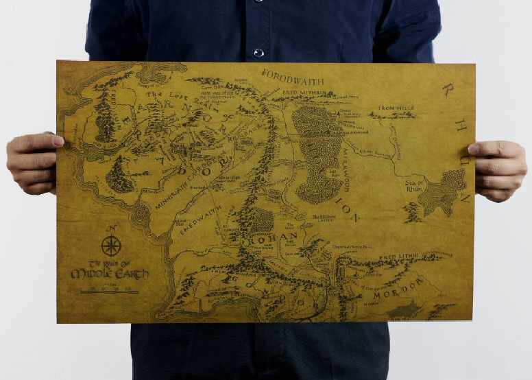 The Lord of the Rings MIDDLE EARTH MAP Vintage Kraft Paper Movie Poster Home Decoration Art Retro Prints