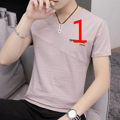 White short-sleeved t-shirt men's tide brand port wind 2019 summer slim trend solid color personality fashion