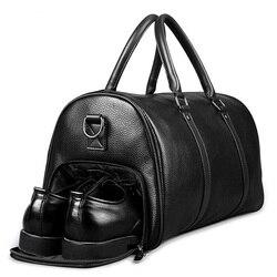 FEGER Männer Echtes Leder Reisetasche Große Kapazität Sporttasche Duffle Taschen Große Weekender Gepäck handtasche Beiläufige Sport schulter Tasche