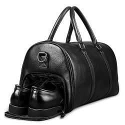 Men Genuine Leather Travel Bag Large Capacity Gym Bag Duffle Bags Big Weekender Luggage handbag Casual Sports shoulder Bag FEGER