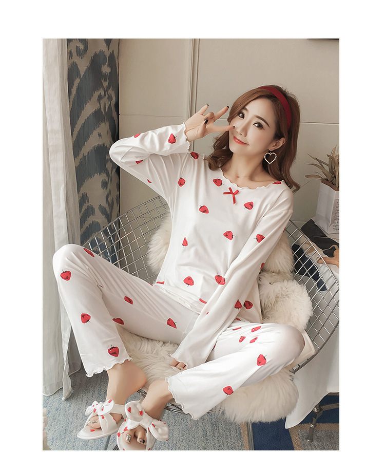 Autumn Women Cotton Pajamas Sets 2 Pcs Cartoon Printing Pijama Pyjamas Long Sleeve Bowknot Pyjama Sleepwear Sleep Set 65