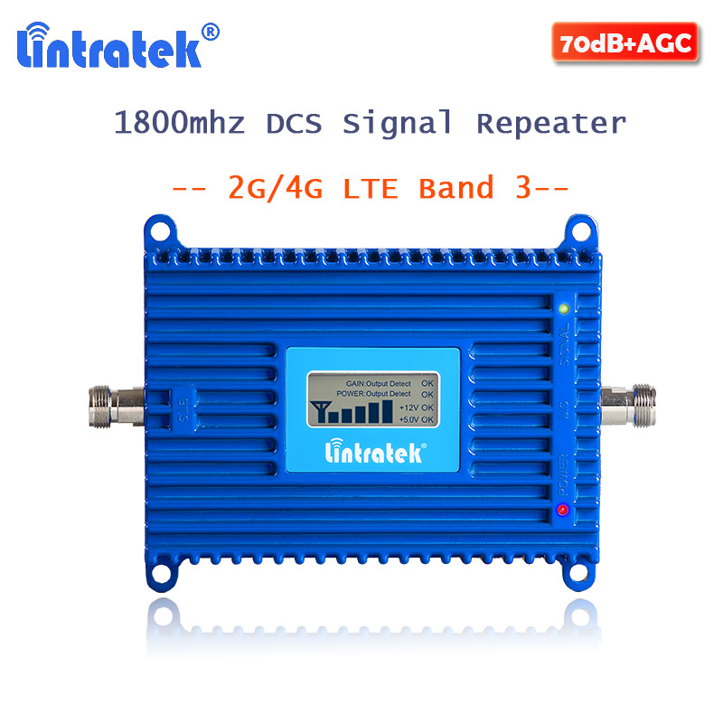 Lintratek LTE 4G Signal Booster Repeater GSM DCS 1800MHZ Cellular Signal Amplifier 1800 Internet 70dB Gain For Mobile Phone