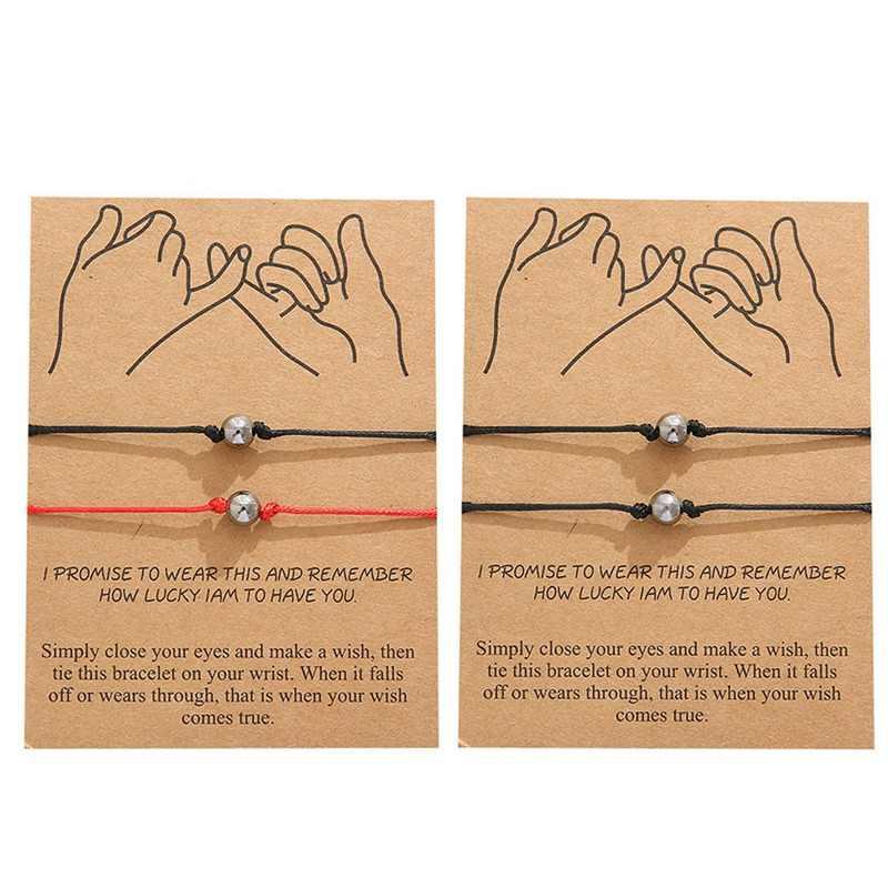 2 ชิ้น/เซ็ต Matte หินลาวาหินธรรมชาติลูกปัดสร้อยข้อมือสายสีแดง Braiding คู่ Yin Yang ผู้ชายผู้หญิง Wish สร้อยข้อมือ
