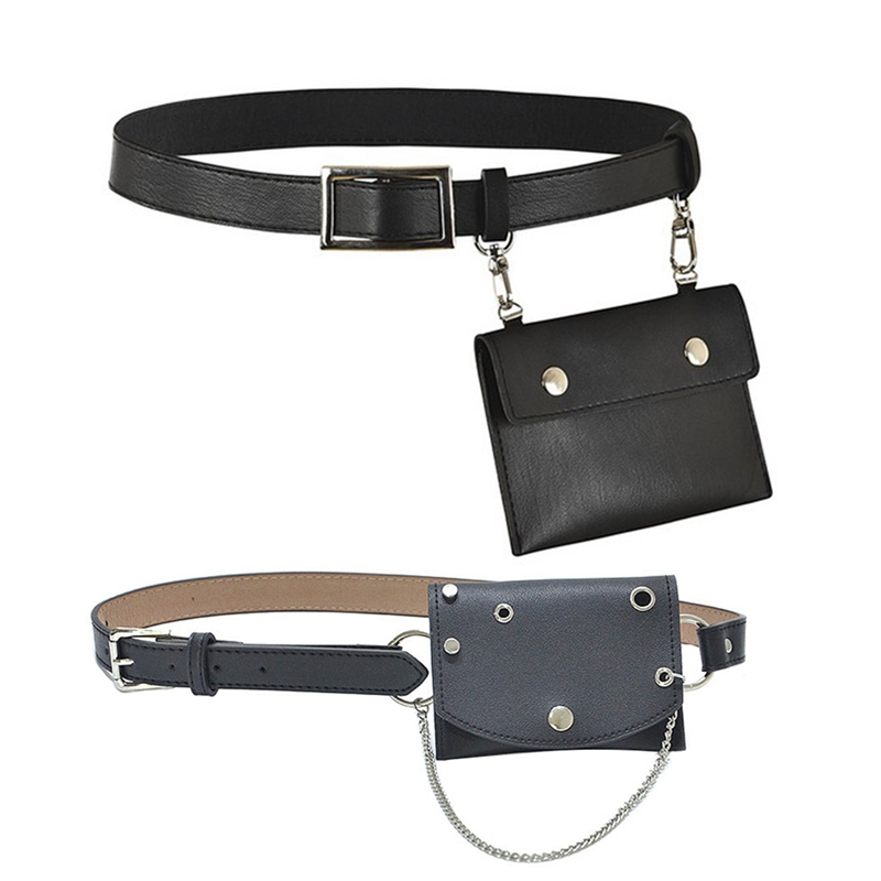 Waist Bag Mini Chain Belt Punk Style Fanny Pack Bag Female Hip Messenger Purse Metal Buckle Skirts Bags & Leather Fanny Pack Men