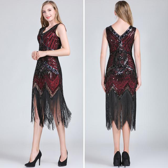 Red fringe flapper dress for women