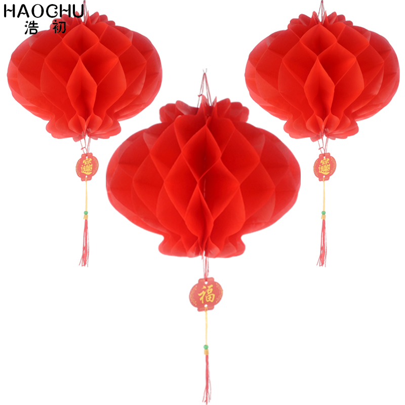10pcs Red Honeycomb Lantern&Chinese Character Blessing Tassel Waterproof Paper 6-16 Inch For New Year Spring Festival Decoration