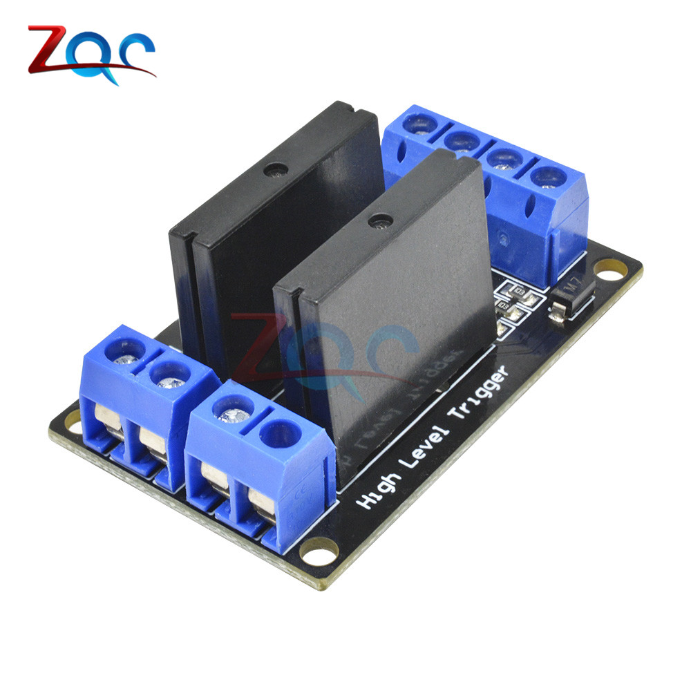 2 Kanal <font><b>OMRON</b></font> <font><b>SSR</b></font> Relais <font><b>G3MB</b></font>-<font><b>202P</b></font> 5V DC 2 Channel Solid-State Relay Board module High Level fuse for Arduino image