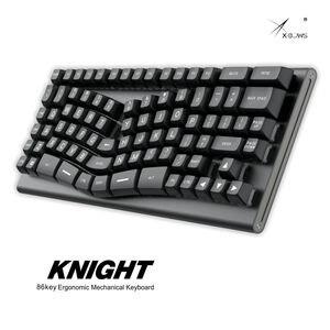 Xbow x-arco cavaleiro teclado mecânico pwb interruptor óptico ergonômico rgb leds tipo c porto quente interruptor swappable soquete