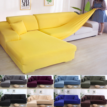 Solid L Shaped and Stretchable Couch Cover for Corner Sofa with 2 Separate Parts in Living Room