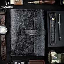 A5 Notebook Diary Handmade 3 Card Slots Genuine Leather Office Note Books Journals Travel Planner Blank Book