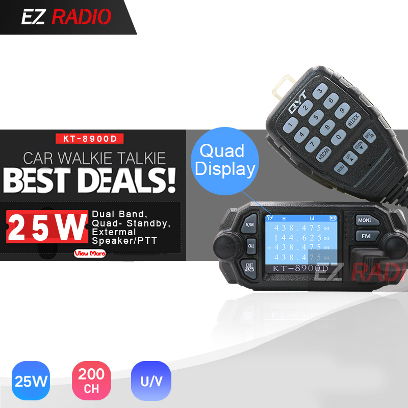 QYT KT-8900D 25W Quad Band Mobile Car Radio 4 Band 136-174MHz/400-480MHz UPGRADE KT8900 Car Walkie Talkie 10 KM BJ-218 BJ-318