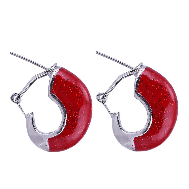 Sehuoran Oorbellen Lang Of Drip Oil Earrings Bohemian Zinc Alloy Multi-Color Curved Earrings For Woman Accessories Gift
