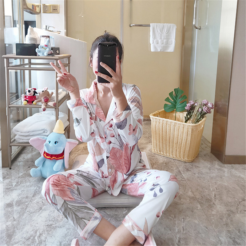 Cute Cotton Pajamas Set Casual Loose Long-sleeved Shirt Lapel Two-piece Suit 2020 Spring And Autumn Pajamas Home Service