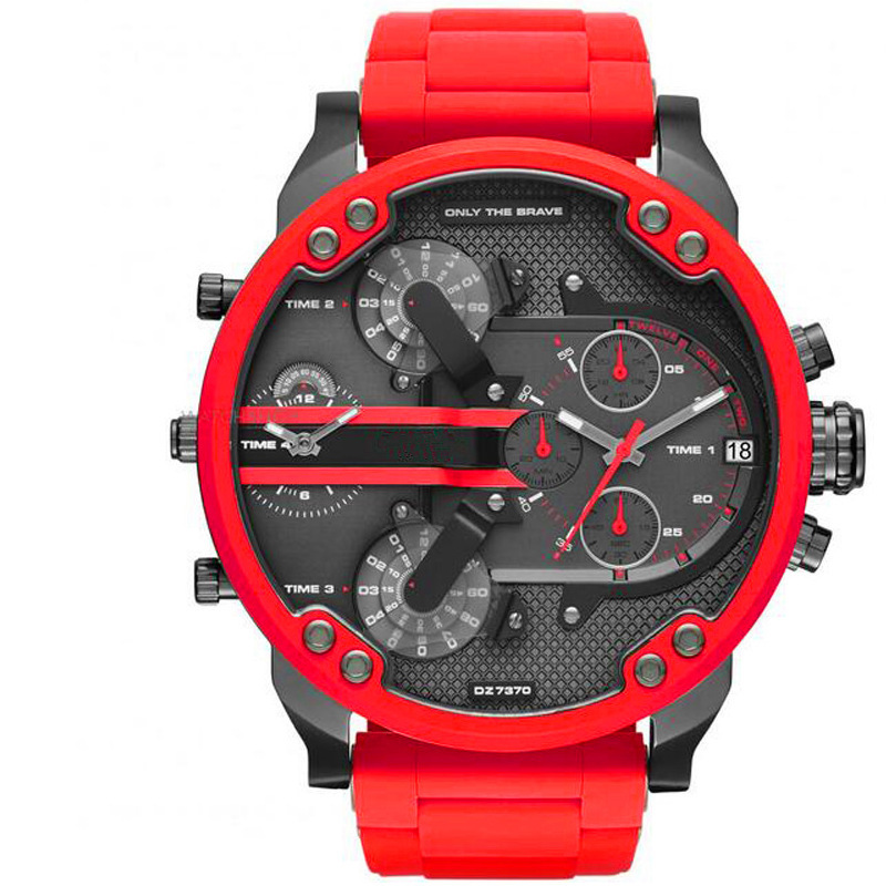 Hot Selling DZ Watch Brazil Europe And America Bright Red Table Large Dial Hot Sales Men's Quartz Watch 7370