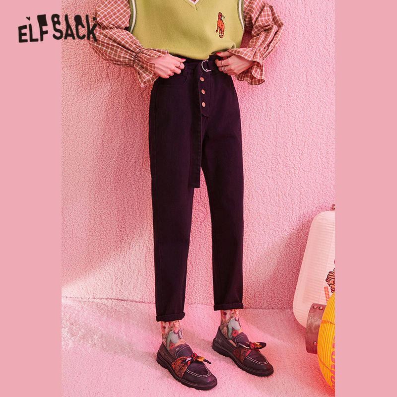 ELFSACK Black Solid Single Button Casual Pants Women 2020 Winter Mid Waist Belted Straight Loose Office Ladies Basic TrousersPants & Capris   -