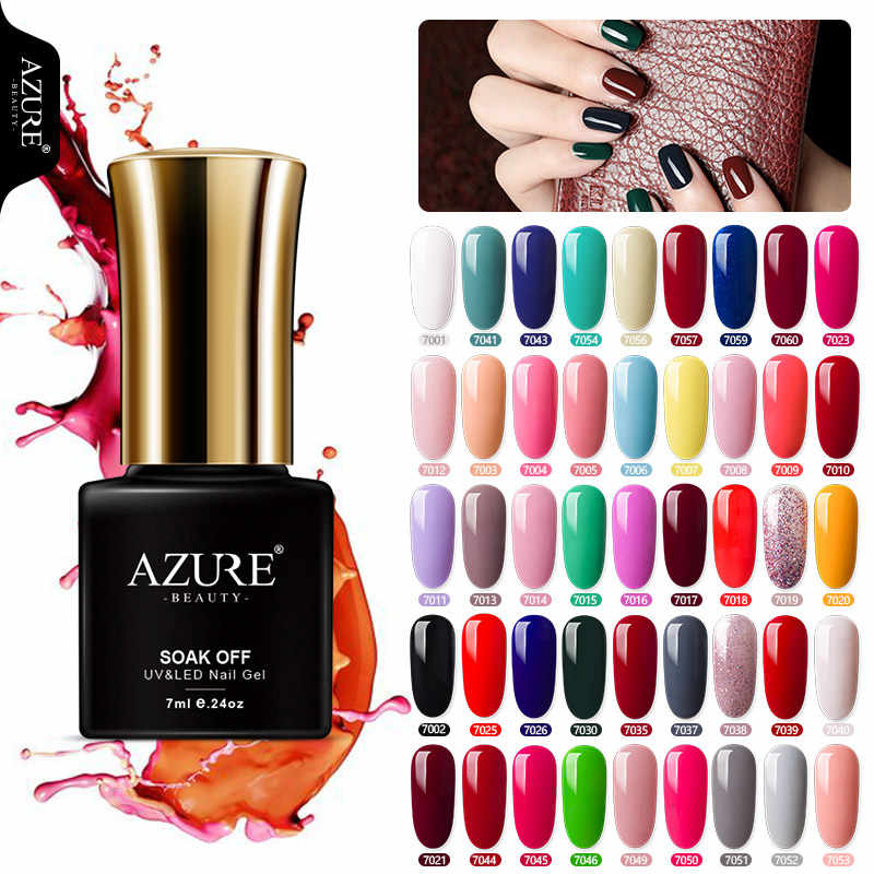Azure Beauty 7 Ml Gel Cat Kuku Gel Cat 46 Cantik Warna Azure Kuku Gel Lem Uv Gel Varnish Rendam off Hybrid Lacquer Enamel
