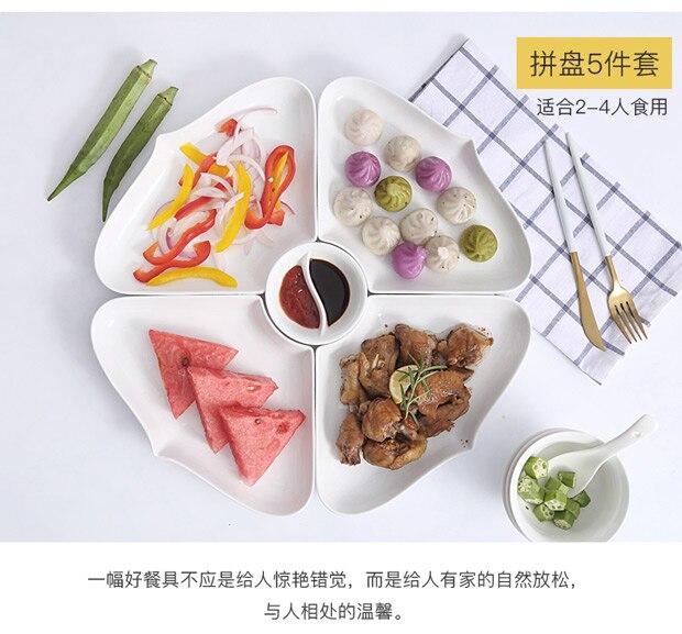 Ensembles de plats et d'assiettes en porcelaine | Vaisselle de cuisine, bol à dîner céramique porcelaine chinoise - 3