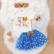 Bebê menina roupas de verão conjunto vestido recém-nascido infantil menina carta 4th-of-julho macacão topos + tutu saia + hairband define vestidos #35