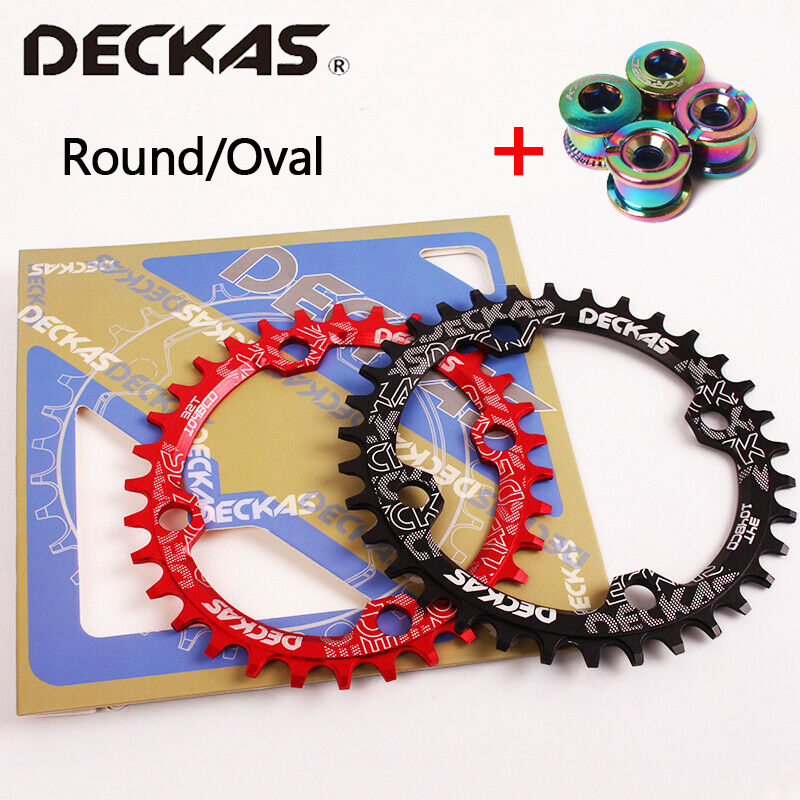 Deckas 104bcd anel de corrente da bicicleta mtb estreito grande roda dentada redonda 32/34/36/38 t única velocidade da bicicleta roda dentada