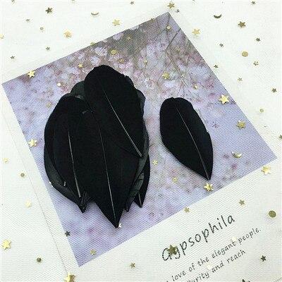 Натуральные гусиные перья 4-8 см, многоцветные белые перья, поделки своими руками, украшения для свадебной вечеринки, аксессуары, 50 шт - Цвет: black 50pcs