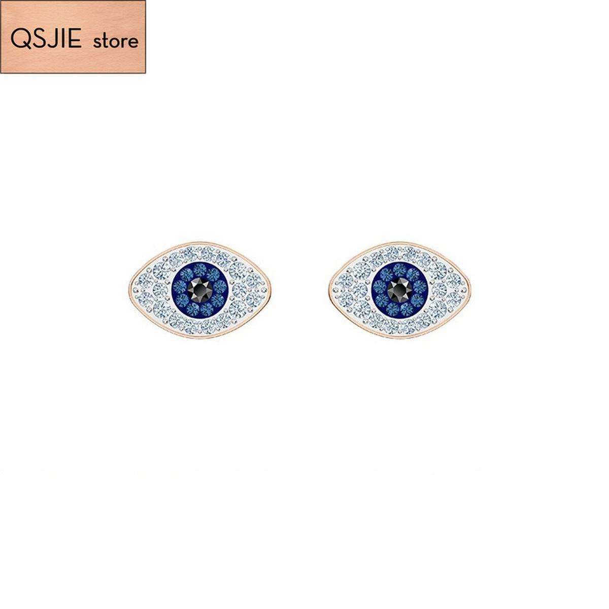 QSJIE High Quality Swa Blue Zircon Binocular Original Earrings Glamorous fashion jewelry