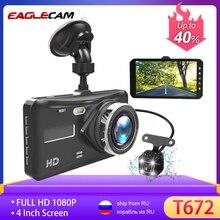 """대시 캠 듀얼 렌즈 풀 HD 1080P 4 """"IPS 자동차 DVR 차량용 카메라 전면 + 후면 야간 투시경 비디오 레코더 G 센서 주차 모드 WDR"""