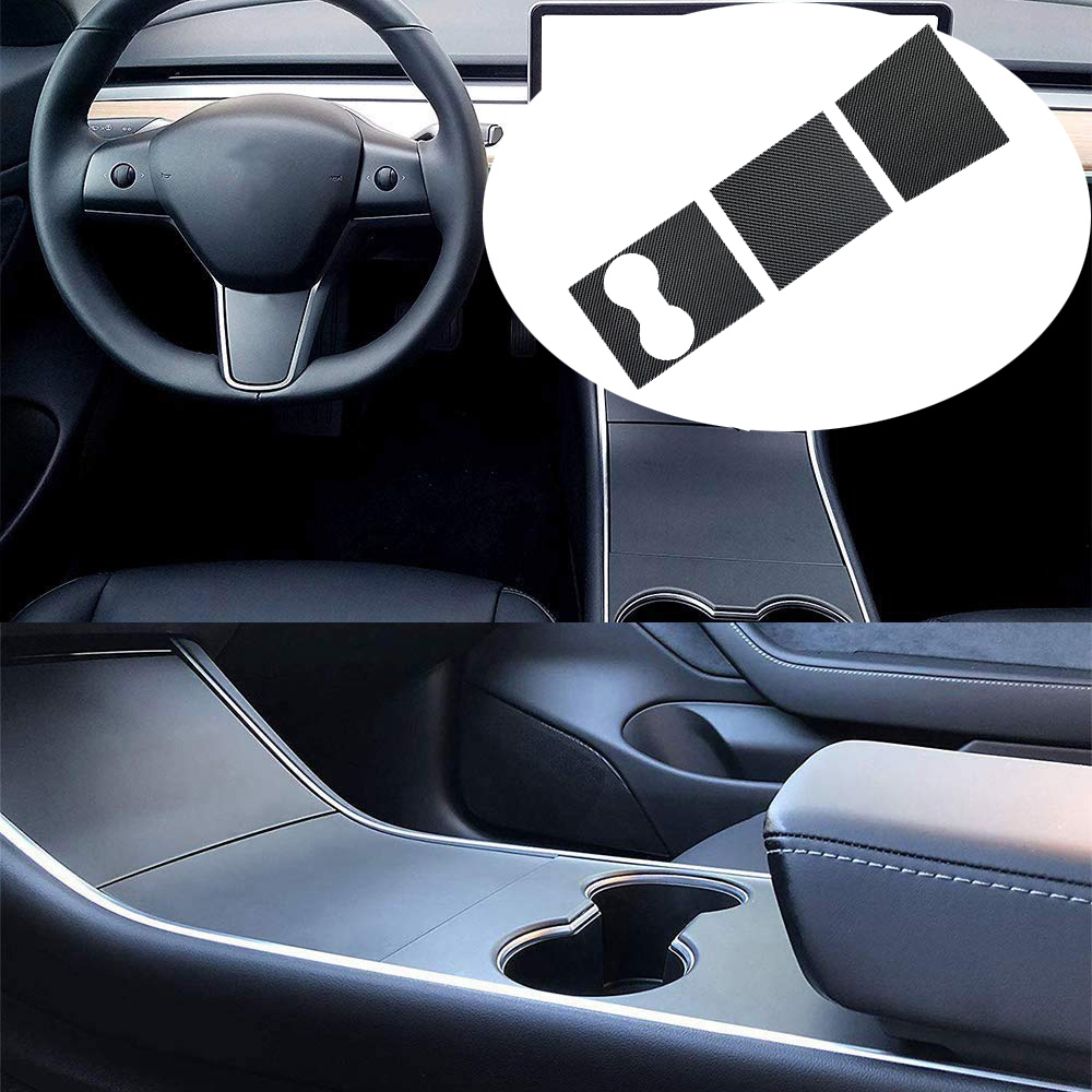 Car Sticker Center Console Wrap Kit Carbon Firber Sticker Protector For Tesla Model 3 - Carbon Black Decoration