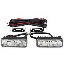 1 Pair Universal 12V 3LED Fog DRL Light White LED Super Bright Daytime Running Driving Light Lamps Without Turning Signal цена 2017