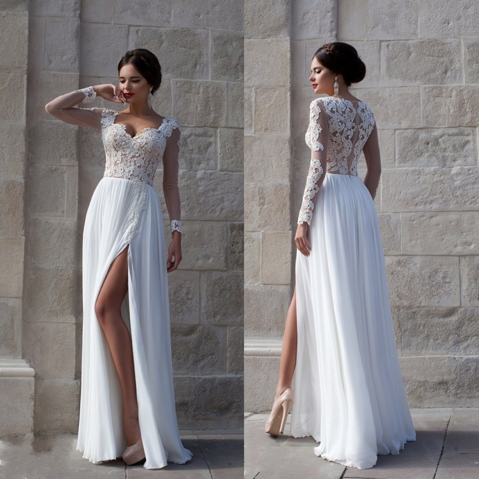 Romantic White Lace Beach High Slit Long Sleeve Chiffon Bridal Gown Hollow Back Vestido De Casamento 2018 Bridesmaid Dresses