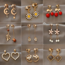 Encanto de moda creativo perla clip en pendientes lindo pendientes hechos a mano para auriculares joya clip
