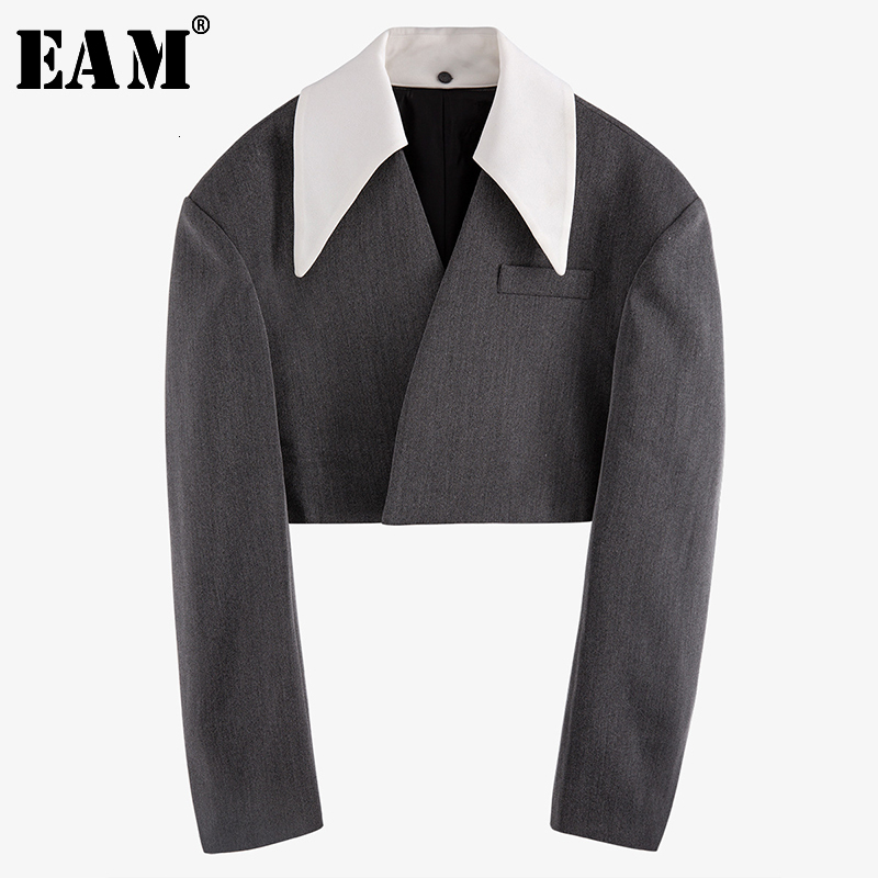 [EAM] 2020 New Spring Autumn Lapel Long Sleeve Hit Color Split Joint Loose Personality Short Jacket Women Coat Fashion JX310